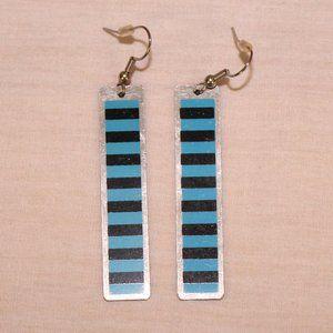 Black & blue metal earrings - Free w/$14 purchase